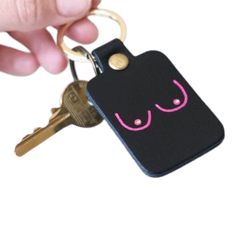 Leather keychain with boobs